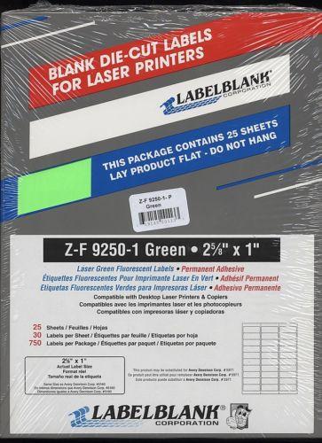 750 label blank 2 5  8 x1 laser green flourescent address